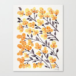 Cherry Blossoms – Yellow Palette Canvas Print