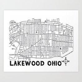 Lakewood Ohio Map Art Print
