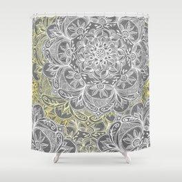 Yellow & White Mandalas on Grey Shower Curtain