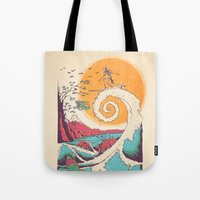 mountain Tote Bags featuring Surf Before Christmas by Victor Vercesi