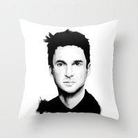 dave matthews Throw Pillows featuring DAVE by Amanda Mocci