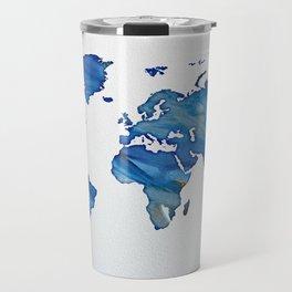 Blue World Map 01 Travel Mug