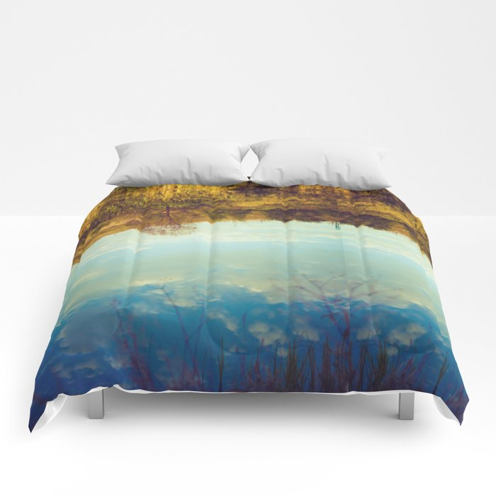 River reflection - photography Comforters