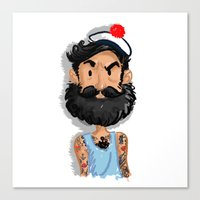 navy Canvas Prints featuring Navy by Mailys Brau