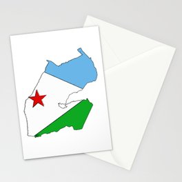 Djibouti Map  with Djiboutian Flag Stationery Cards