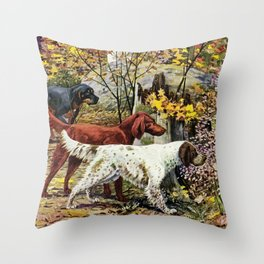 English Country Style Dog Image Throw Pillow