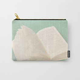 Open Book on Blue Textured Background (Vintage and Retro Still Life Photography)  Carry-All Pouch
