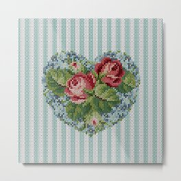 Knitted vintage roses heart in tapestry syle Metal Print