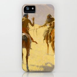 """Frederic Remington Western Art """"The Parley"""" iPhone Case"""