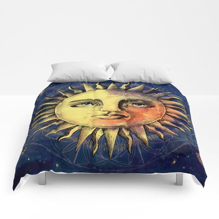 Celestial Antique Sun And Sky Watercolor Batik Comforters