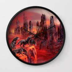 Wolves of Future Past landscape Wall Clock