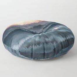 Mountains Sunset Floor Pillow