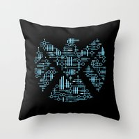 agents of shield Throw Pillows featuring Alien Agents by Doodle Dojo