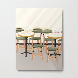 Paris Cafe Chairs | France Metal Print