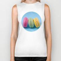macaron Biker Tanks featuring Macaron Series - Blue by Zayda Barros