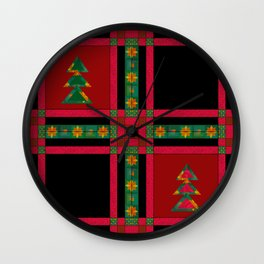 Christmas. Patchwork . Wall Clock