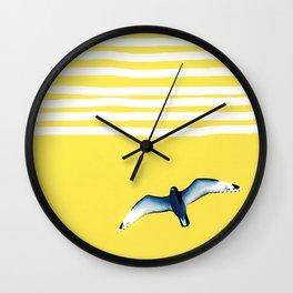 Soaring - sunshine stripe sky Wall Clock