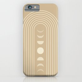 Geometric Lines in Beige 9 (Rainbow Moon Phases Abstract) iPhone Case