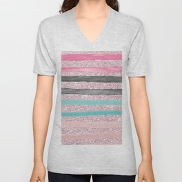 Geometric watercolor pink teal blush glitter Unisex V-Neck