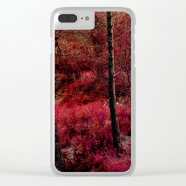 Red forest landscape electric alien Clear iPhone Case