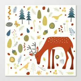 Deer and Forest Things Canvas Print