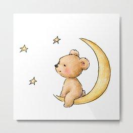 teddy bear watching the stars Metal Print