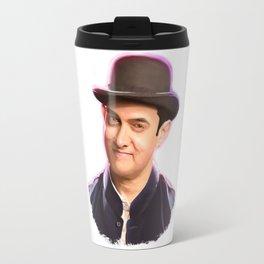 Aamir khan portrait Digital Panting Travel Mug