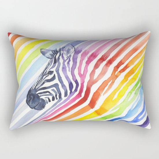 Zebra Rainbow Stripes Colorful Whimsical Animal Rectangular Pillow