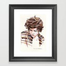 H plaid watercolors Framed Art Print