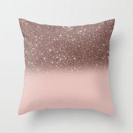 Rose Gold Glitter Ombre Throw Pillow