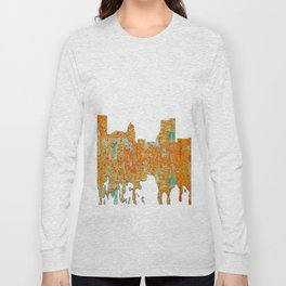 Fort Wayne, Indian Skyline - Rust Long Sleeve T-shirt