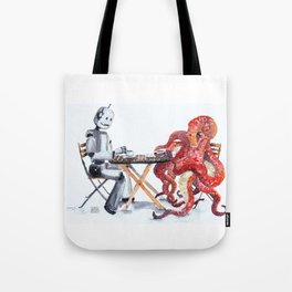Robot Octopus Coffee Date Tote Bag