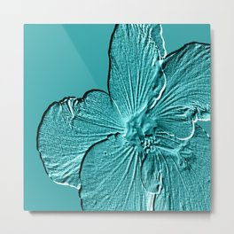 Bloom Aqua Metal Print