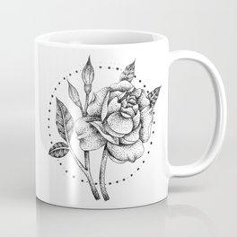 Rose Pen Dot work Design Coffee Mug