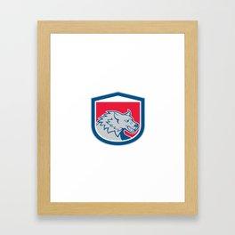Angry Wolf Wild Dog Head Shield Cartoon Framed Art Print