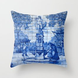 Portuguese Azulejo Tile Traditional Old World Life. Throw Pillow