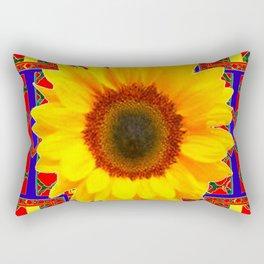 WESTERN BLUE-RED YELLOW SUNFLOWER FLORAL ART Rectangular Pillow