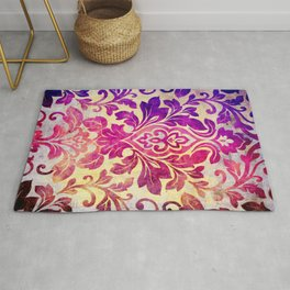 Purple Damask Pattern Rug