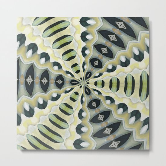 Earth Tones Symmetrical Kaleidoscope Metal Print
