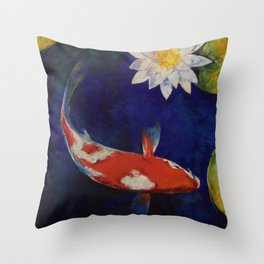 Kohaku Koi and Water Lily Throw Pillow