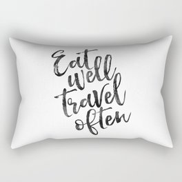MOTIVATIONAL POSTER,Eat Well Travel Often,Travel Gifts,Inspirational Quote,Kitchen Decor,Quote Print Rectangular Pillow