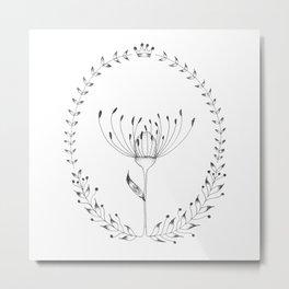 Pincushion Protea Laurel Metal Print