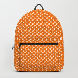 Tiny Paw Prints Pattern - Bright Orange & White Backpack