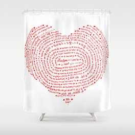 I Love You (Languages of Love Heart) Shower Curtain