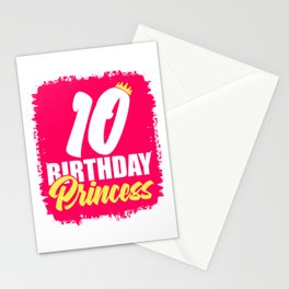10th Birthday Girl Crown Princess Queen Shirt For Those Whose Birthday Is Coming Near T-shirt Design Stationery Cards