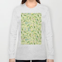 Tropical yellow green abstract leaves floral pattern Long Sleeve T-shirt