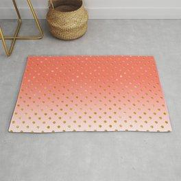 Elegant Polka Dots -Living Coral & Gold- Rug