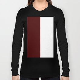 White and Bulgarian Rose Red Vertical Halves Long Sleeve T-shirt