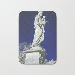 Infrared madonna and child statue Bath Mat