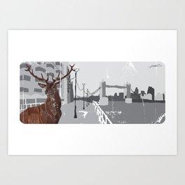 Cityscape Deer Art Print